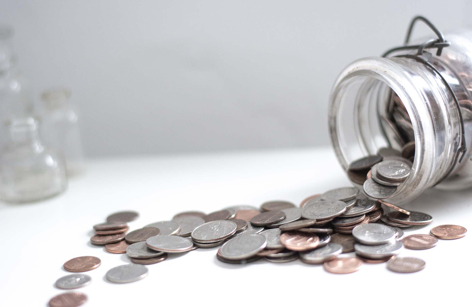 mason jar & coins